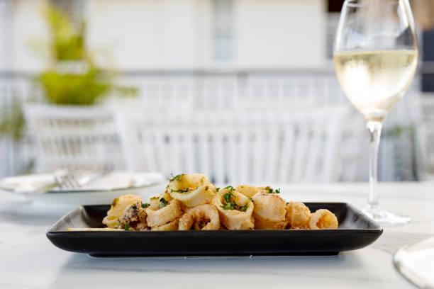 Salt And Pepper Calamari Antipasto Dish stock photo