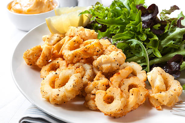 salt and pepper squid - calamares bildbanksfoton och bilder