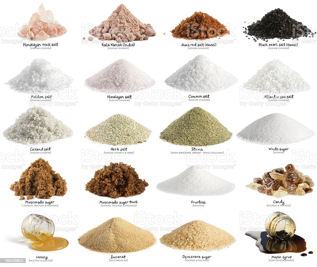Salt and sugar. XXL stock photo