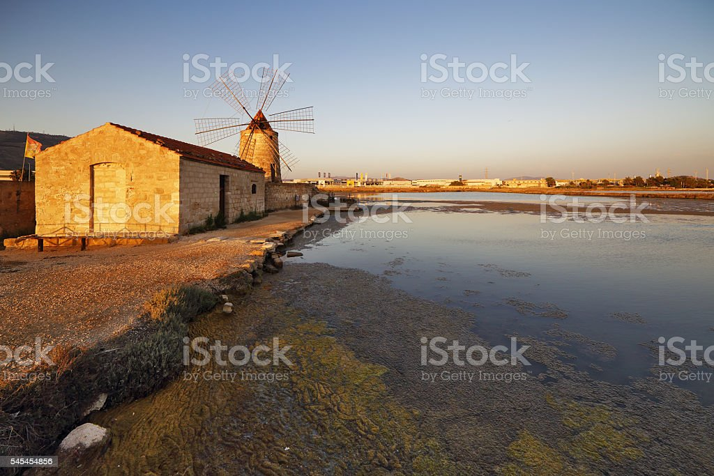 Salt and windmill stock photo
