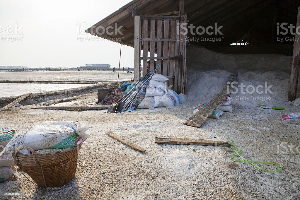 Salt baskets and garner at the field royalty-free stock photo