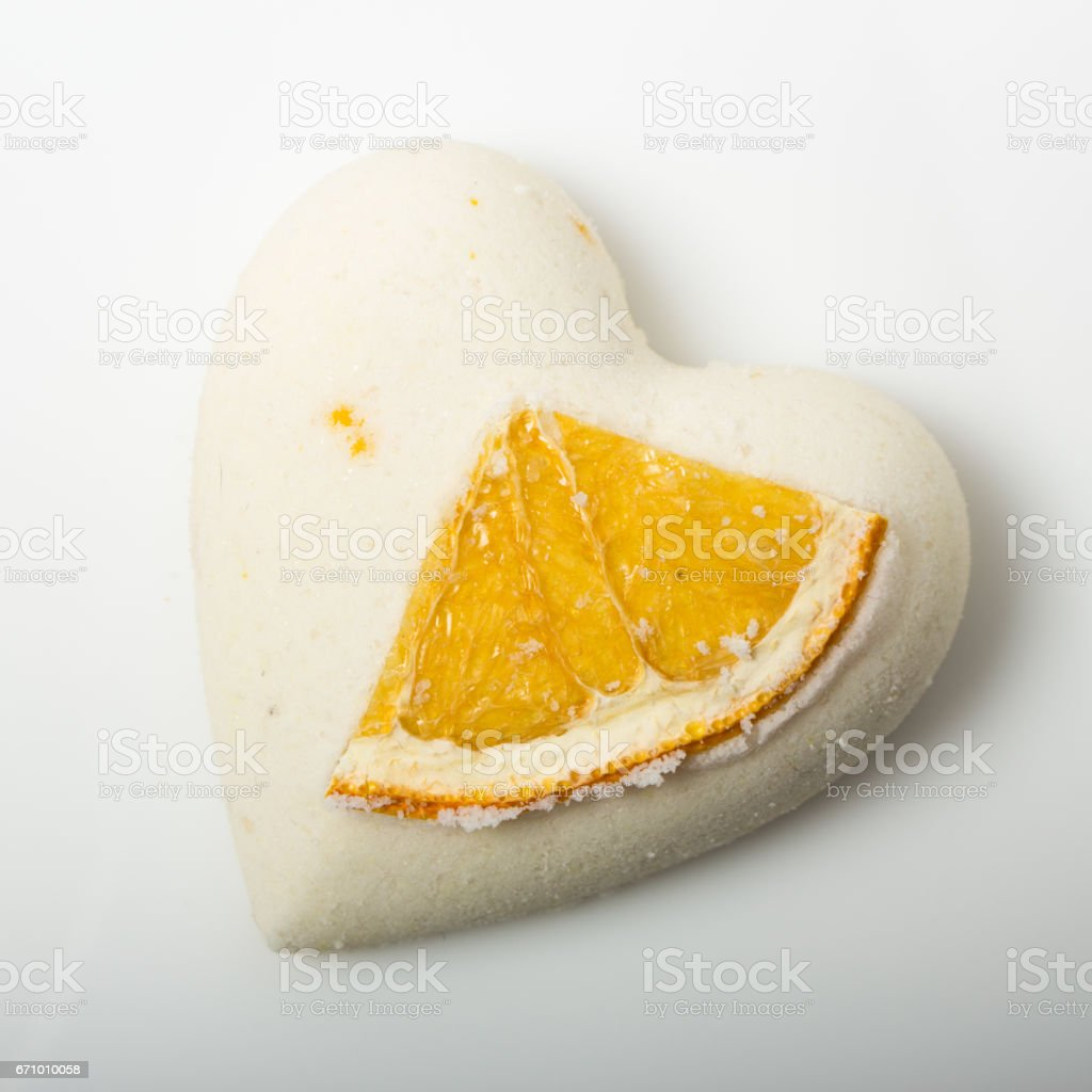 salt bath bomb decorated orange stock photo