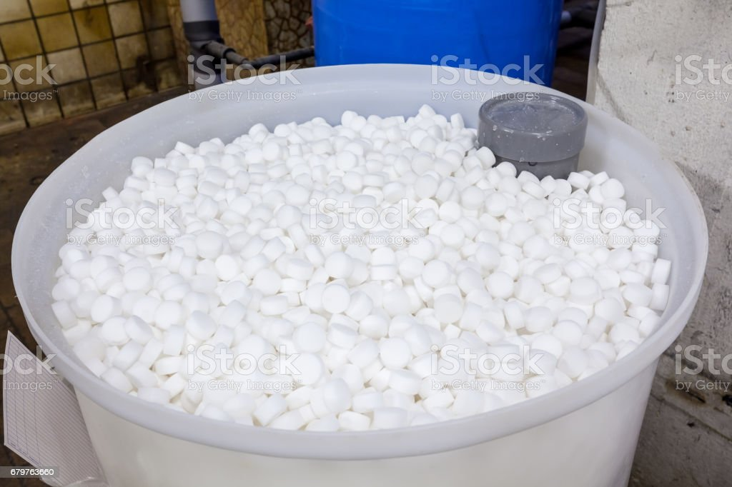 salt blocks for softener stock photo