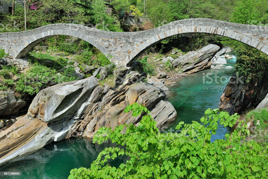 Ponte dei Salti,Valle Verzasca,Switzerland stock photo