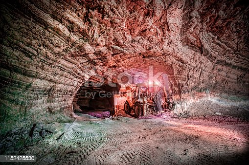 Salt cave and a loader vehicle working