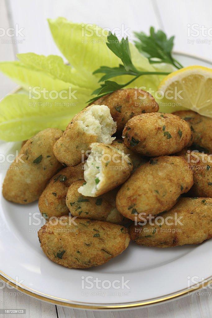 salt cod (bacalhau,bacalao) fritters, croquettes stock photo