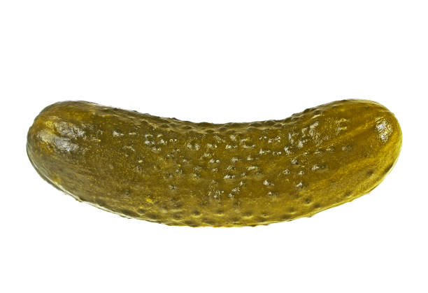 Salt cucumber isolated on a white background stock photo