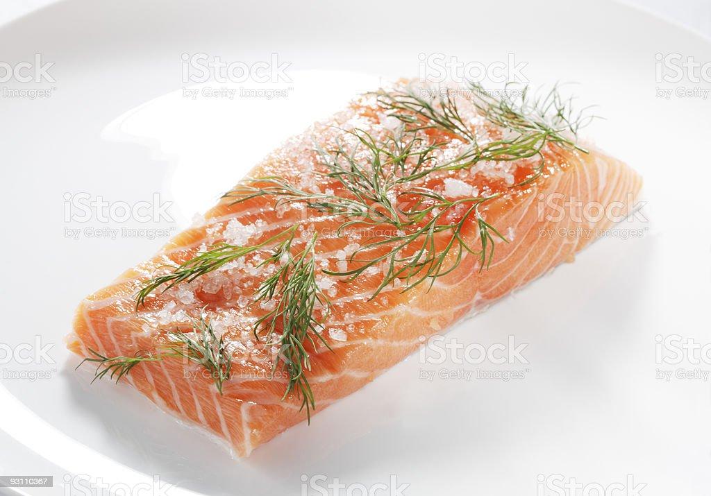Salt cured salmon stock photo