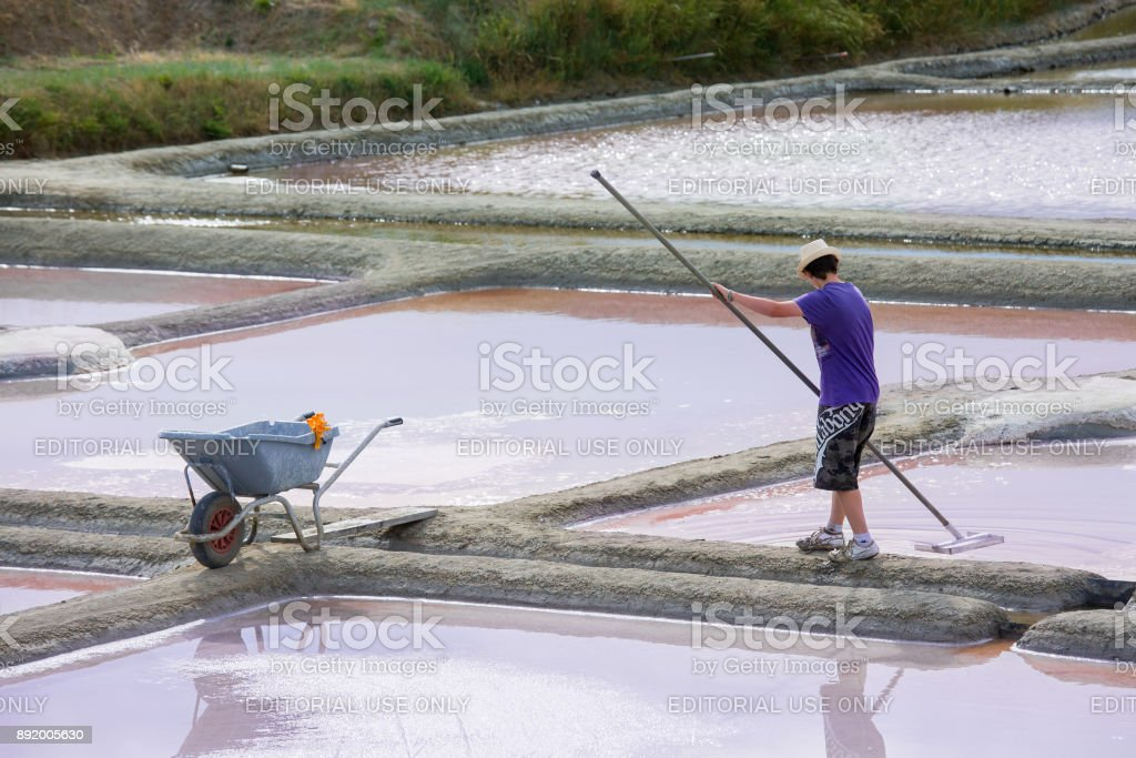 Salt evaporation pond in Guerande stock photo