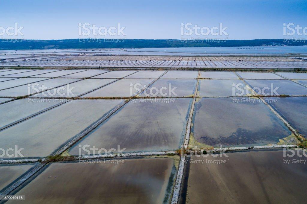 Salt evaporation ponds in Secovlje, Slovenia stock photo