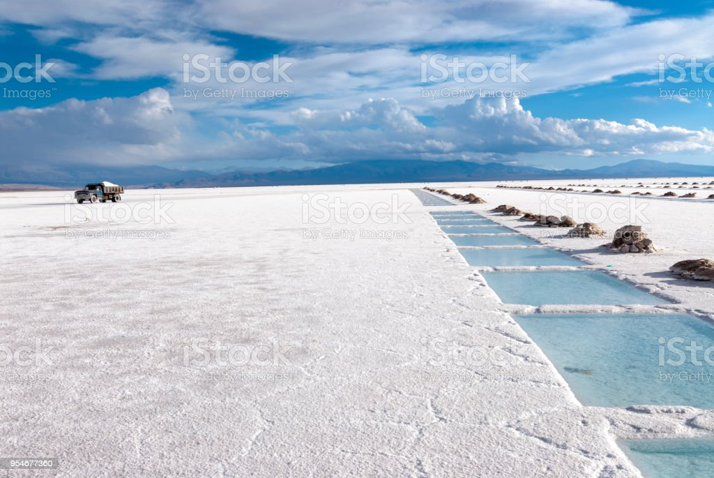 Salt Extraction Pools in Salinas Grandes, Argentina stock photo