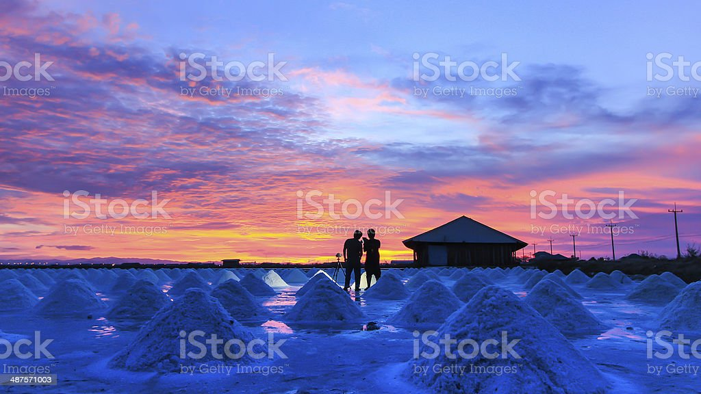 Salt field in Twilight time. stock photo