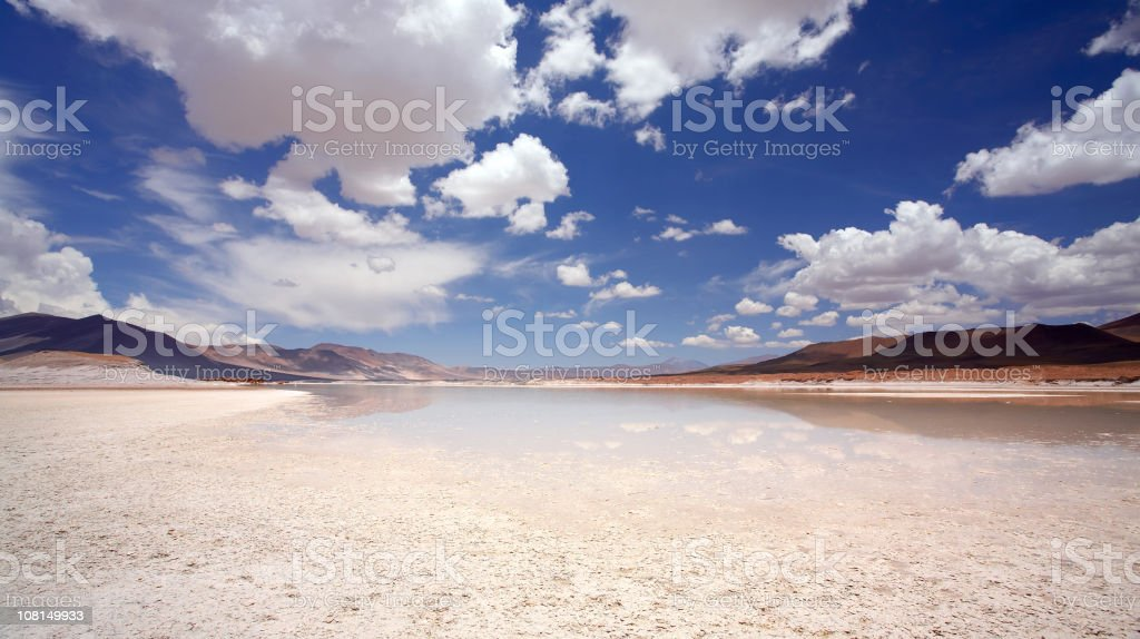 Salt Flats in Chile with Blue Cloudy Sky royalty-free stock photo
