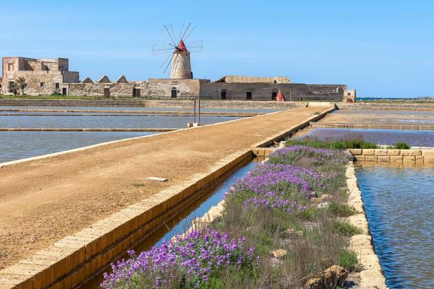 Salt flats of Trapani, Sicily, Italy stock photo