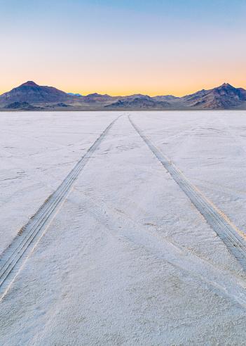 Salt Flats Tracks Stock Photo - Download Image Now