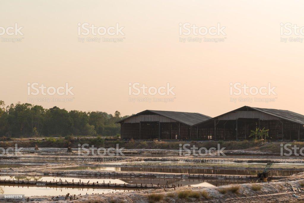 Salt for making rock salt. Udon Thani, Thailand. stock photo