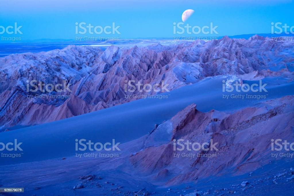 Salt formations at Valle de la Luna in the Atacama Desert stock photo