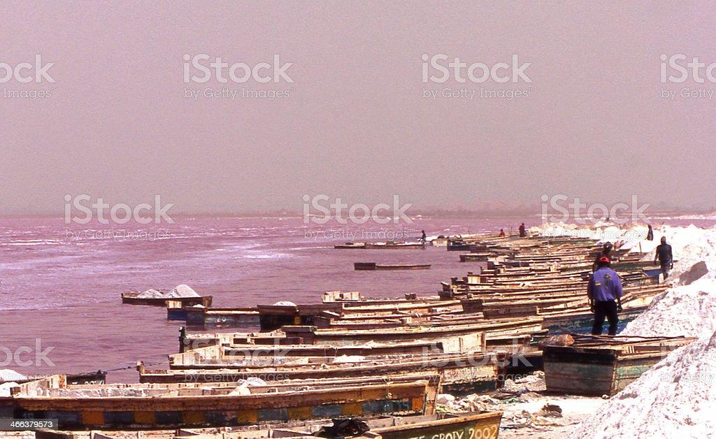 Salt gathering stock photo