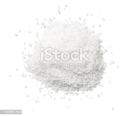 ​​Salt isolated on white background. Top view