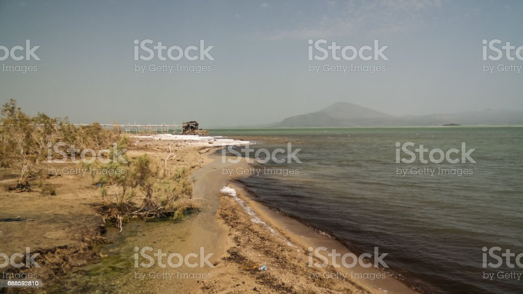 Salt Lake Afrera aka Lake Afdera or Giulietti or Egogi , Danakil Afar, Ethiopia stock photo