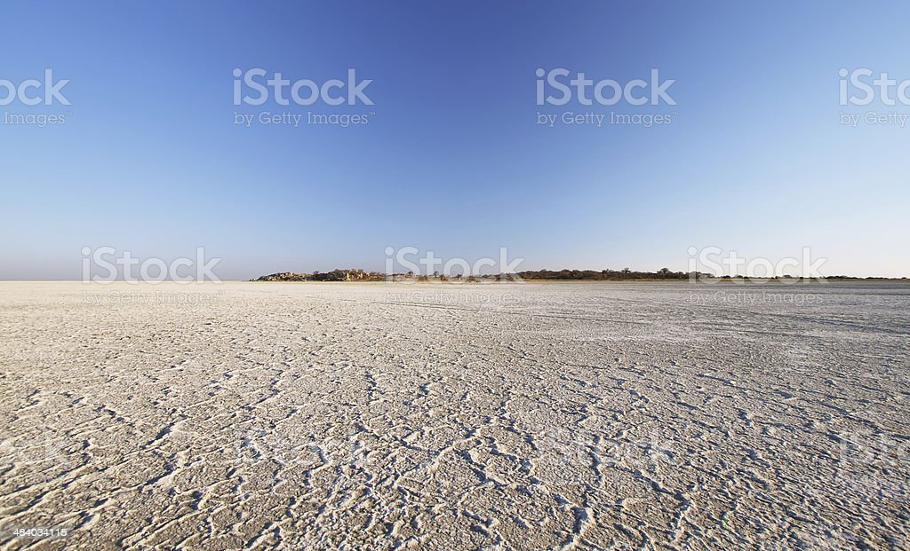 Salt lake around Kubu island in winter stock photo