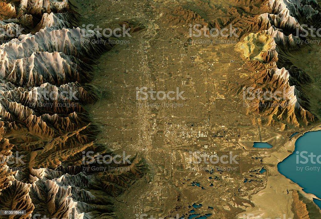 Salt Lake City D Landscape View Northsouth Natural Color Stock - Landscape map of usa