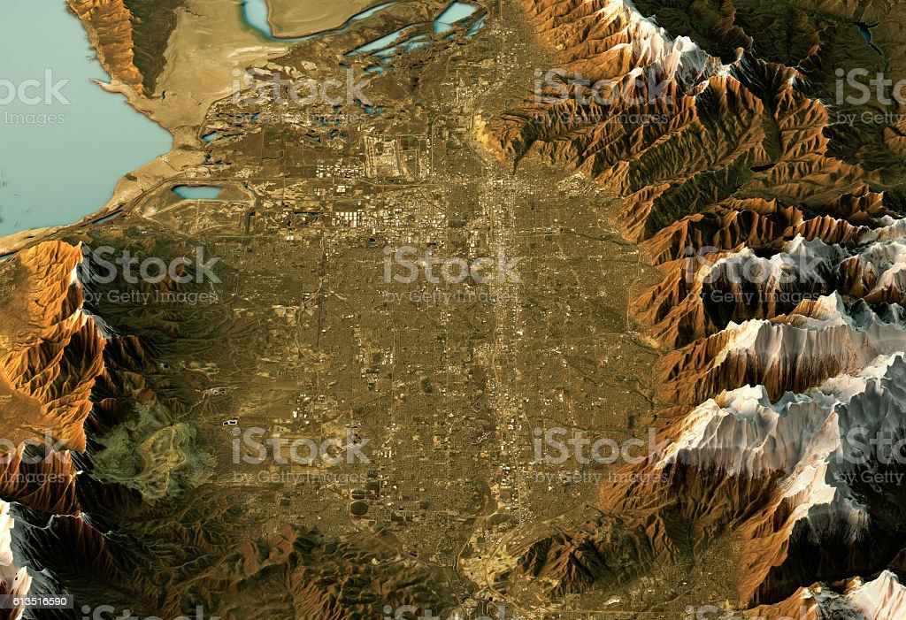 Salt Lake City 3D Landscape View South-North Natural Color stock photo