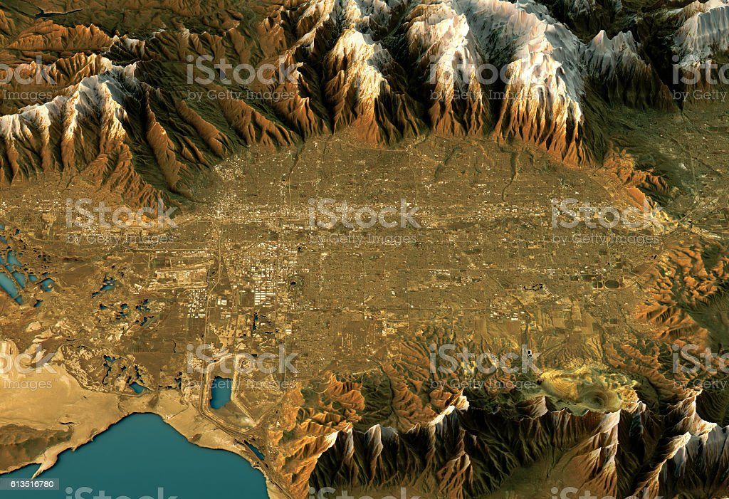 Salt Lake City 3D Landscape View West-East Natural Color stock photo