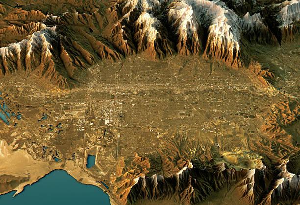 Salt Lake City 3D Landscape View West-East Natural Color 3D Render of a Topographic Map of Salt Lake City, Utah, USA. topographic map stock pictures, royalty-free photos & images