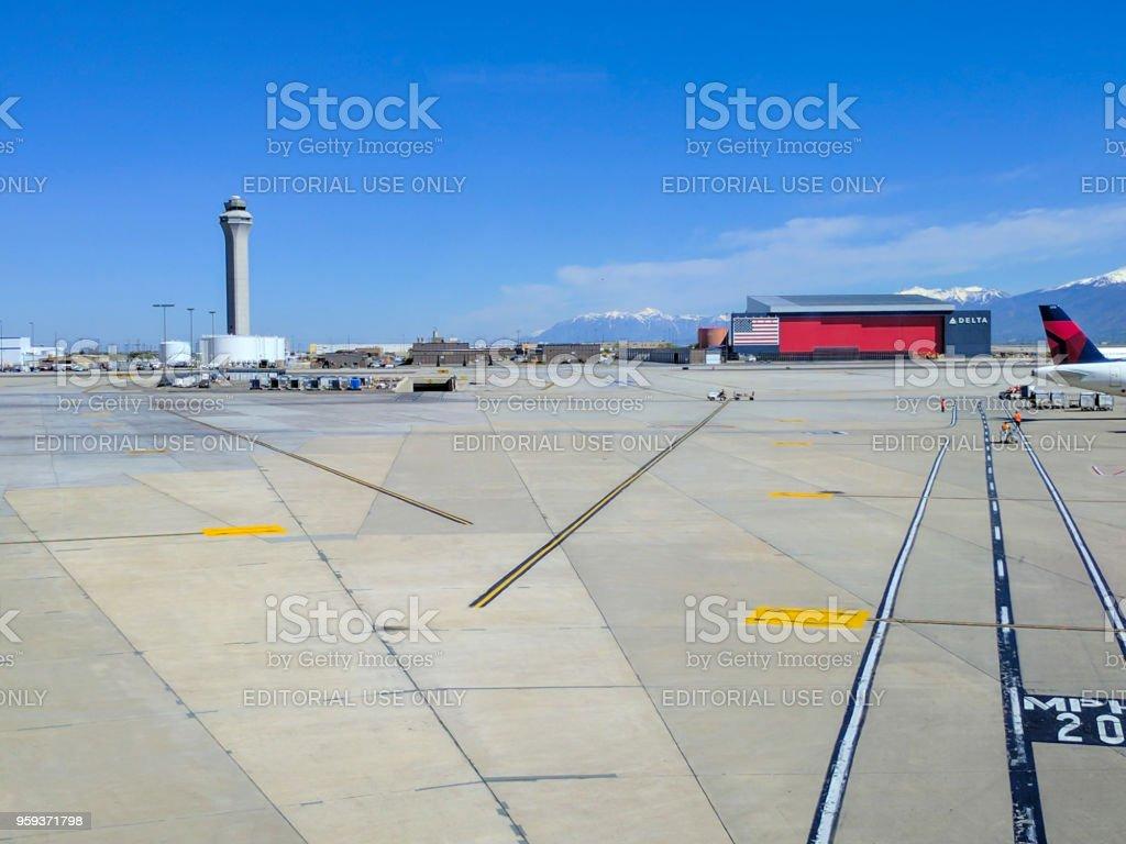 Salt Lake City Air Traffic Control Tower stock photo