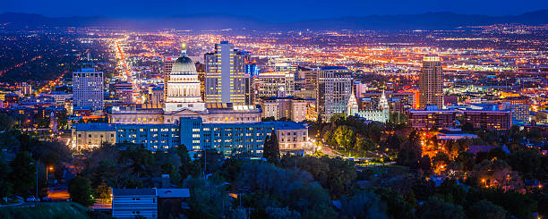 Salt Lake City downtown landmarks illuminated dusk panorama Utah USA stock photo