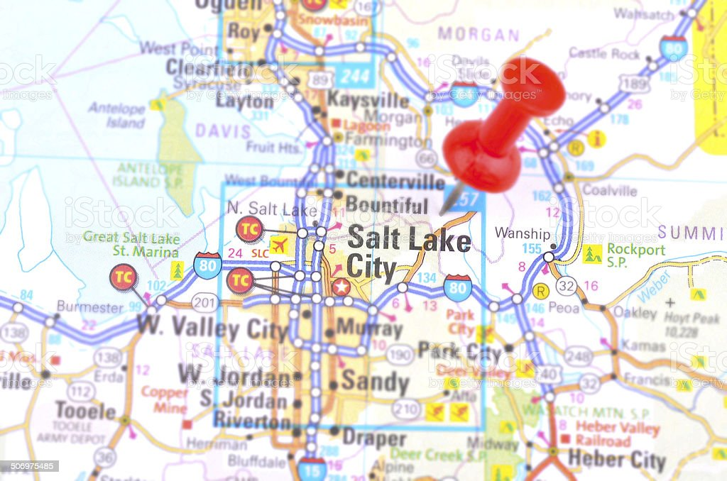 Salt Lake City Map Stock Photo - Download Image Now - iStock