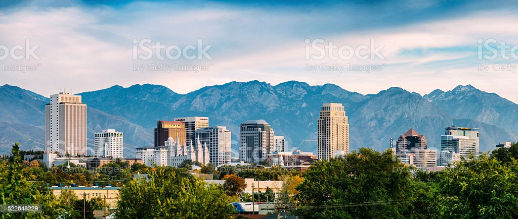Salt Lake City Panorama stock photo