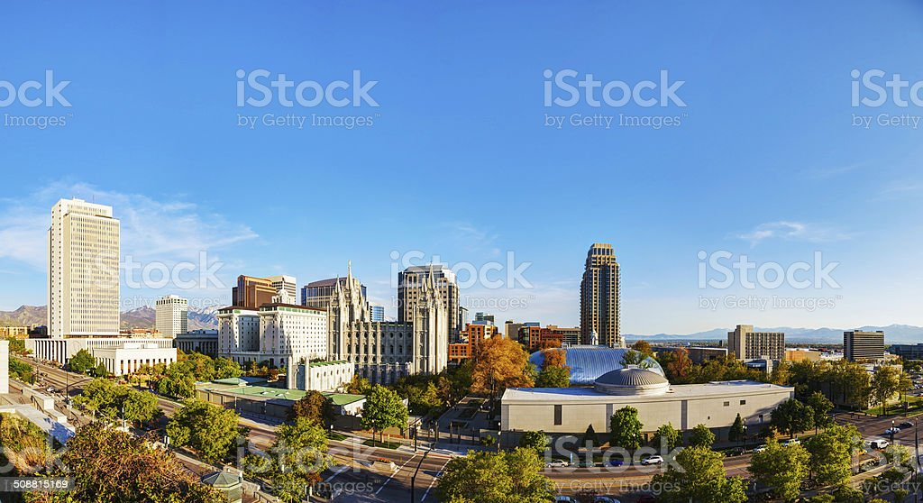 Salt Lake City panoramic overview stock photo