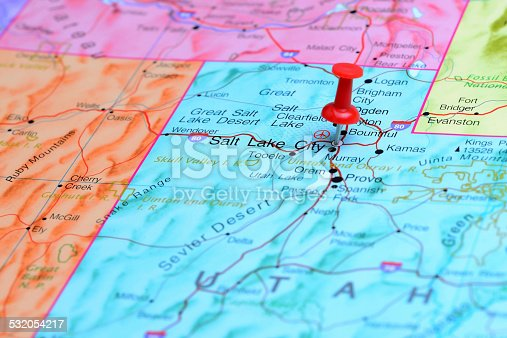 1151956281 istock photo Salt Lake City pinned on a map of USA 532054217
