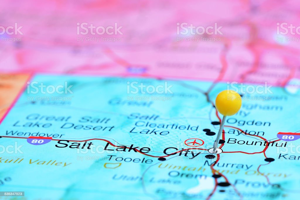Salt Lake City Pinned On A Map Of Usa Stock Photo & More Pictures of ...