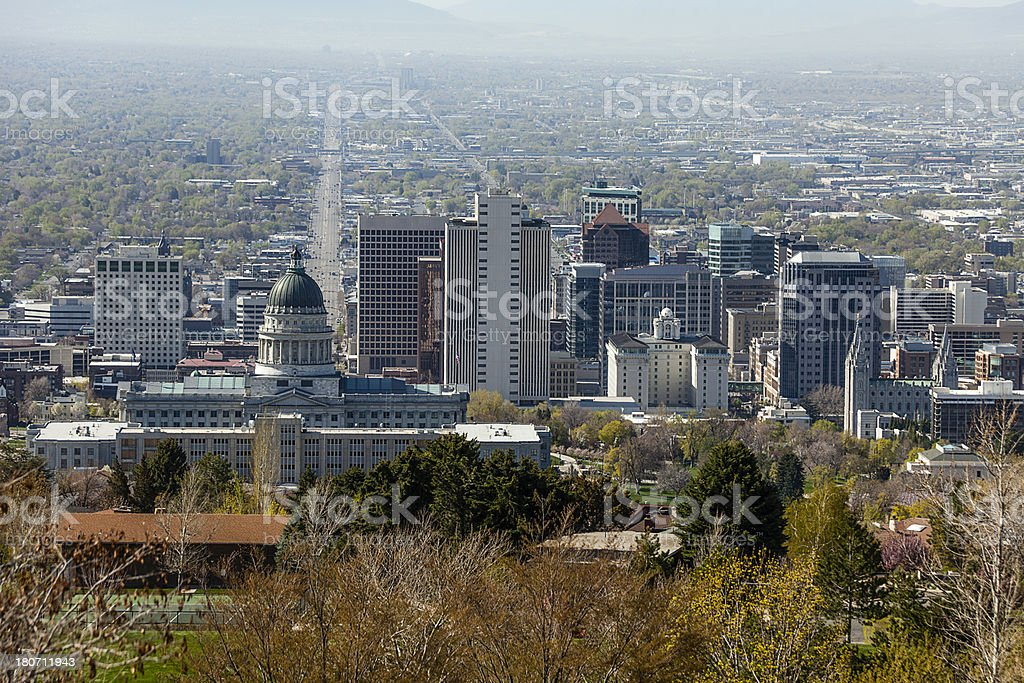 Salt Lake City Skyline from Foothills North of Downtown royalty-free stock photo