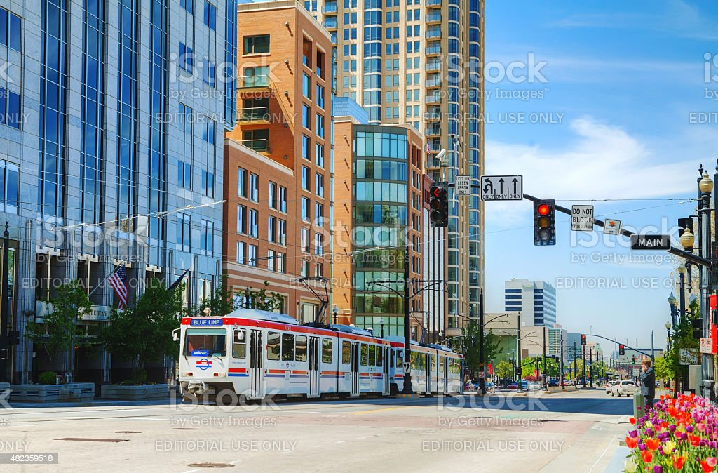 Salt Lake City street with a tram stock photo