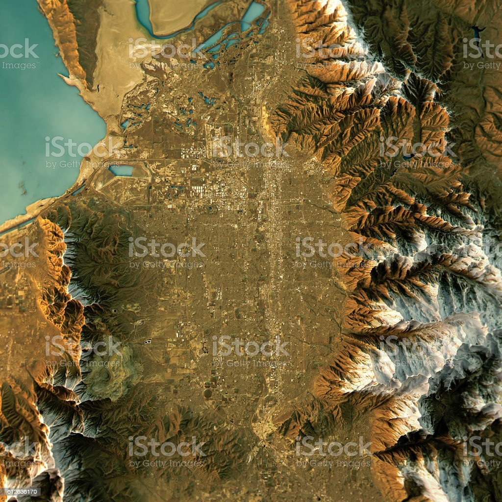 Salt Lake City Topographic Map Natural Color Top View Stock ...