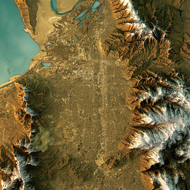 Salt Lake City Topographic Map Natural Color Top View 3D Render of a Topographic Map of Salt Lake City, Utah, USA. rocky mountains north america stock pictures, royalty-free photos & images