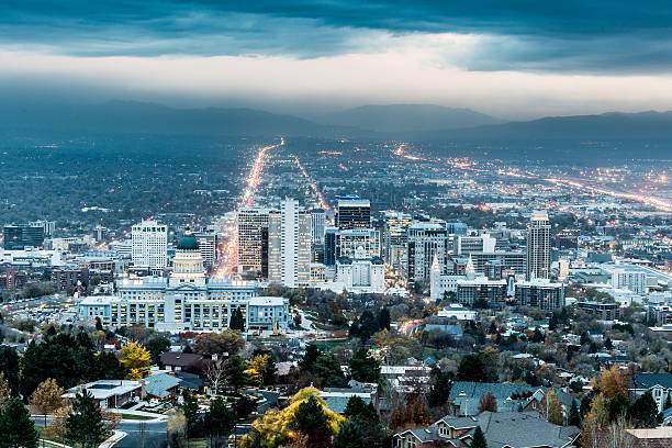 salt lake city twilight - dally stock pictures, royalty-free photos & images