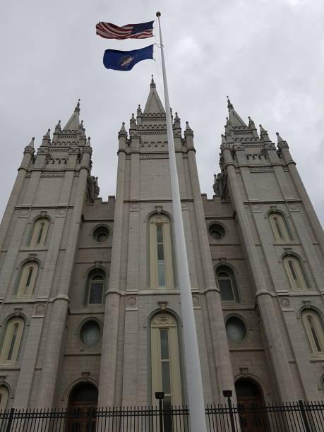 Salt Lake City Utah Church Facade with Flags stock photo