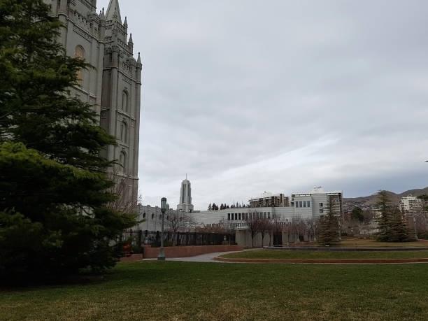 Salt Lake City Utah Church Grounds Plains Field stock photo