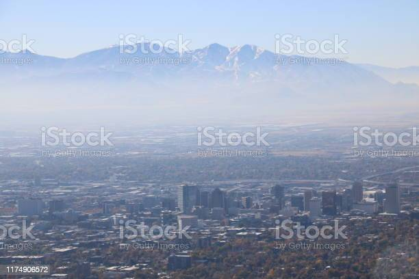 Photo of Salt Lake City, Utah in Wintertime Inversion
