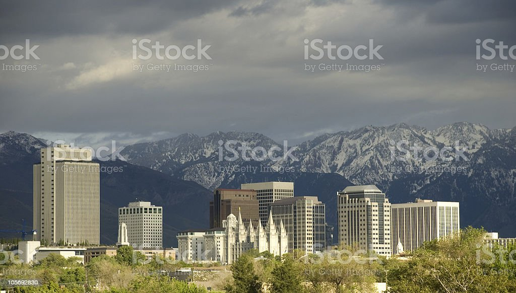 Salt Lake City, Utah Skyline with a Storm Approaching royalty-free stock photo