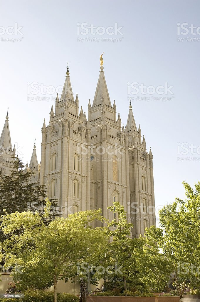 Salt Lake City Utah Temple with Trees in the Foreground royalty-free stock photo
