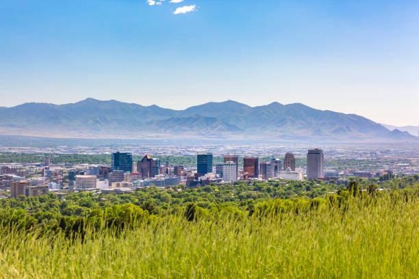 Salt Lake City Views with downtown mountains stock photo