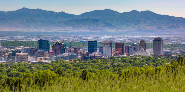 Salt Lake City with buildings and mountain view stock photo
