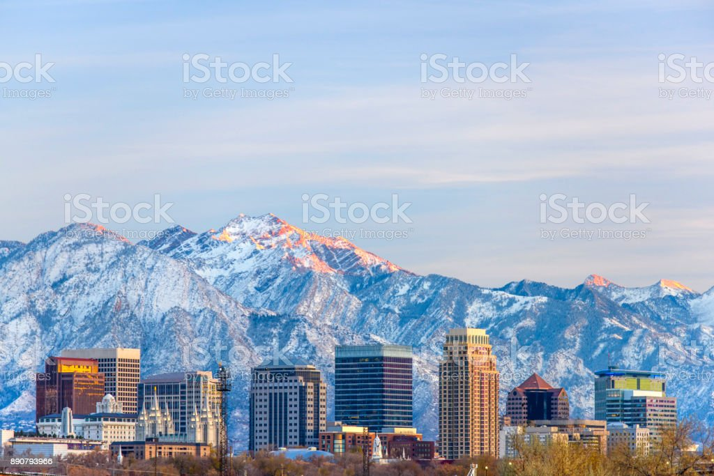 Salt Lake City with Snow Capped Mountain stock photo