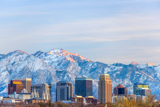 Salt Lake City with Snow Capped Mountain stock photo